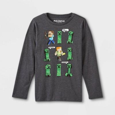 Kids' Minecraft Long Sleeve Graphic T-Shirt - Gray