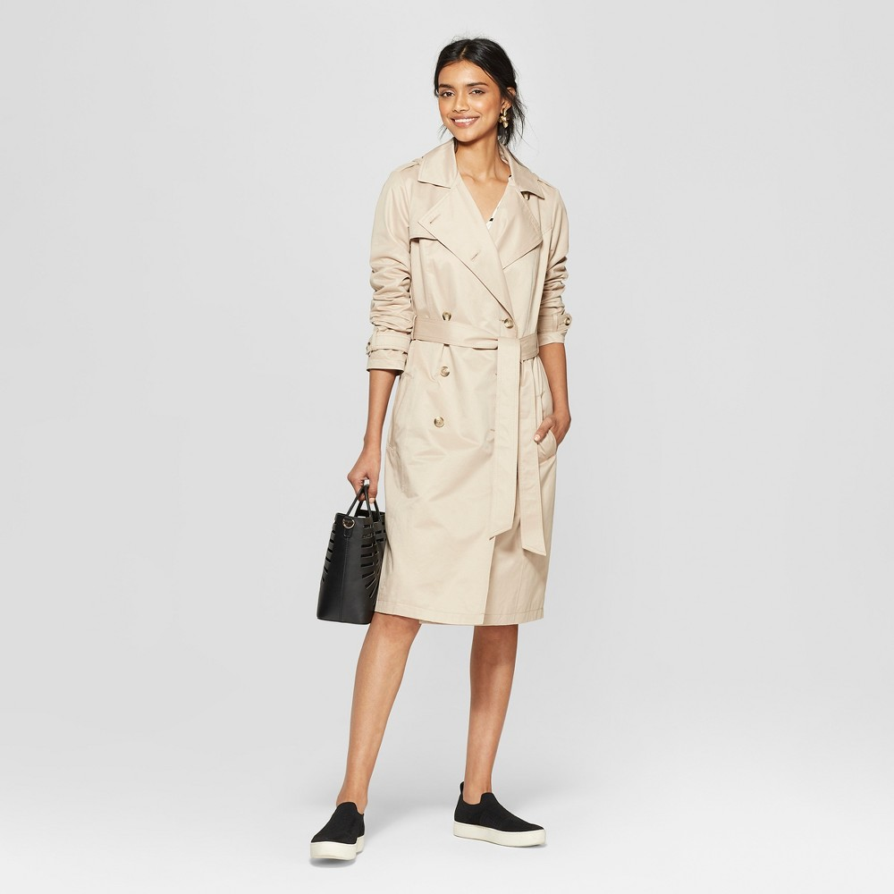 Women's Trench Coat - A New Day Tan XS