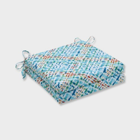 20 X 20 X 3 2pk Capiz Opal Squared Corners Outdoor Seat Cushions Blue Pillow Perfect