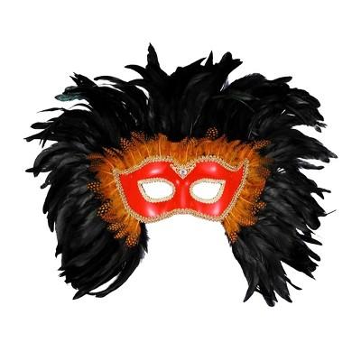 Forum Novelties Mardi Gras Venetian Costume Eye Mask Red w/Black Feathers