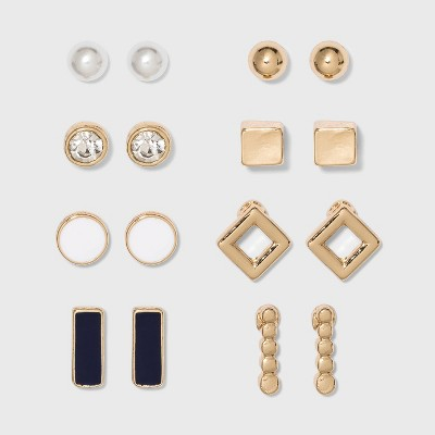 Earring Set 8pc - A New Day™ White/Gold