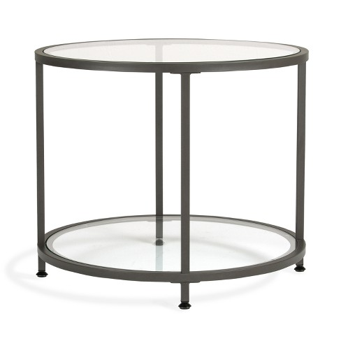 Home Camber Modern Gl Round End Table 26 Gray Studio Designs