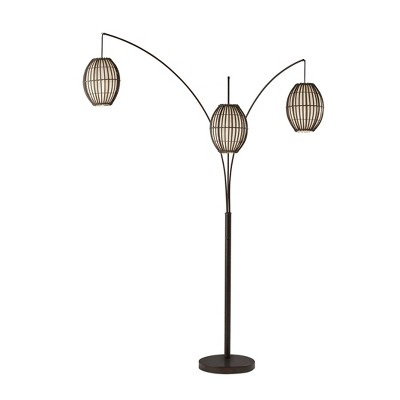"""83"""" Maui Collection 3-Arm Arc Lamp Brown - Adesso"""