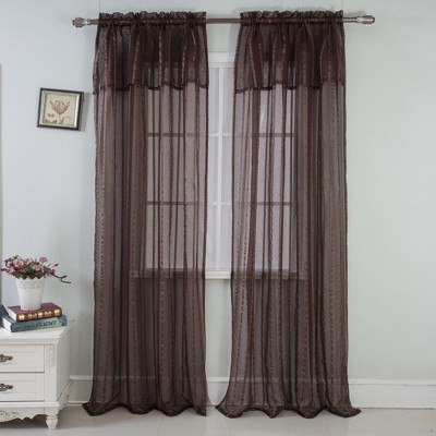 "Ramallah Trading Gretchen High Quality Stylish Sheer Striped Patterned Rod Pocket Single Window Curtain Panel 1-piece 54x90"", Attached 18 inch Valance"
