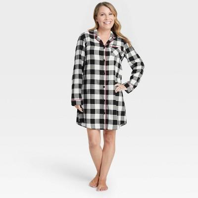 Women's Holiday Buffalo Check Plaid Flannel Matching Family Pajama Nightgown - Wondershop™ White