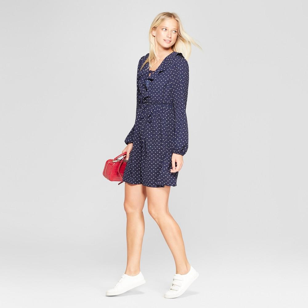 Women's Polka Dot Long Sleeve Tie Front V-Neck Dress - Xhilaration Navy (Blue) Xxl