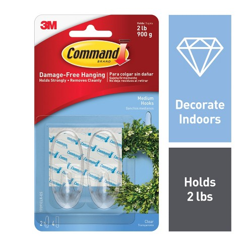 Command Medium Sized Clear Hooks with Clear Strips (2 Hooks 4 Strips) - image 1 of 9