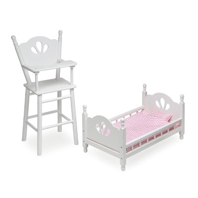 English Country Doll High Chair and Bed Set with Chevron Bedding - White/Pink