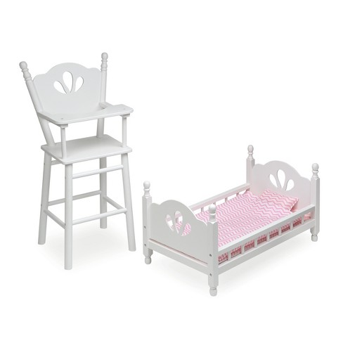 English Country Doll High Chair and Bed Set with Chevron Bedding - White/Pink - image 1 of 3