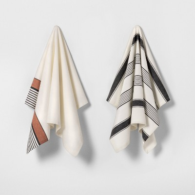 2pk Kitchen Towels Cream / Black & Rust Stripe - Hearth & Hand™ with Magnolia