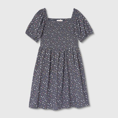 Girls' Smocked Woven Puff Sleeve Dress - Cat & Jack™ Navy