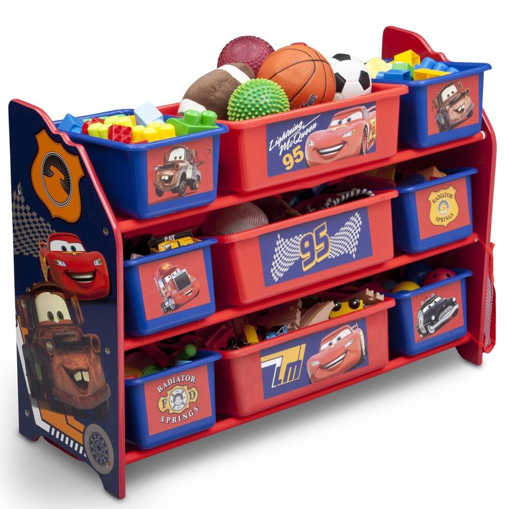 Image of 9 Bin Disney Pixar Cars Plastic Toy Organizer - Delta Children