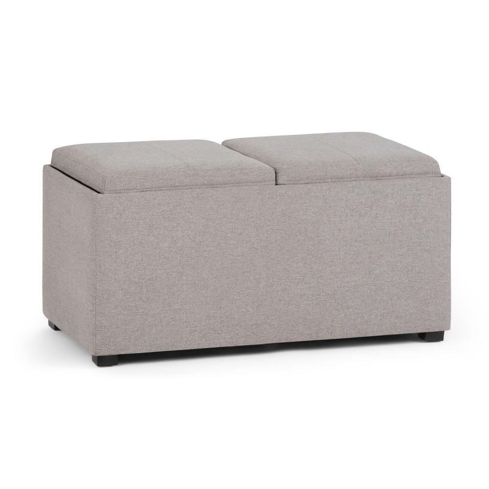 Frankl5pc Storage Ottoman Cloud Gray Linen Look Fabric - Wyndenhall