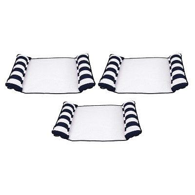 Aqua Leisure AQL12674S1Z 4 in 1 Inflatable Monterey Hammock Beach Pool Float Chair Lounger, Navy Striped (3 Pack)