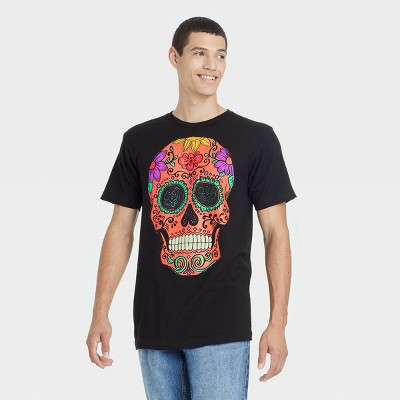 Men's Neon Skull Short Sleeve Graphic T-Shirt - Black