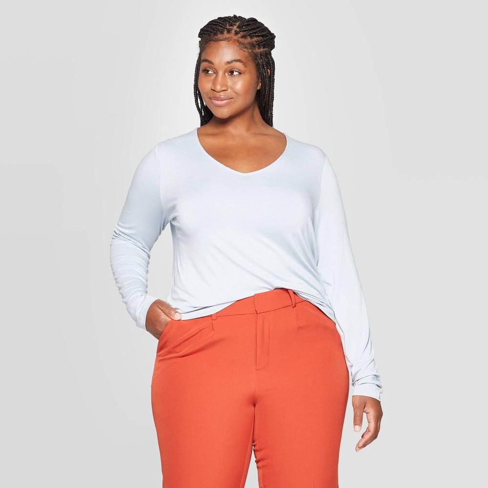 Women's Plus Size Long Sleeve V-Neck T-Shirt - Ava & Viv Light Blue 1X, Women's, Size: 1XL was $12.0 now $8.4 (30.0% off)