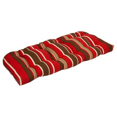 Outdoor Bench/Loveseat/Swing Cushion - Brown/Red Stripe - Pillow Perfect
