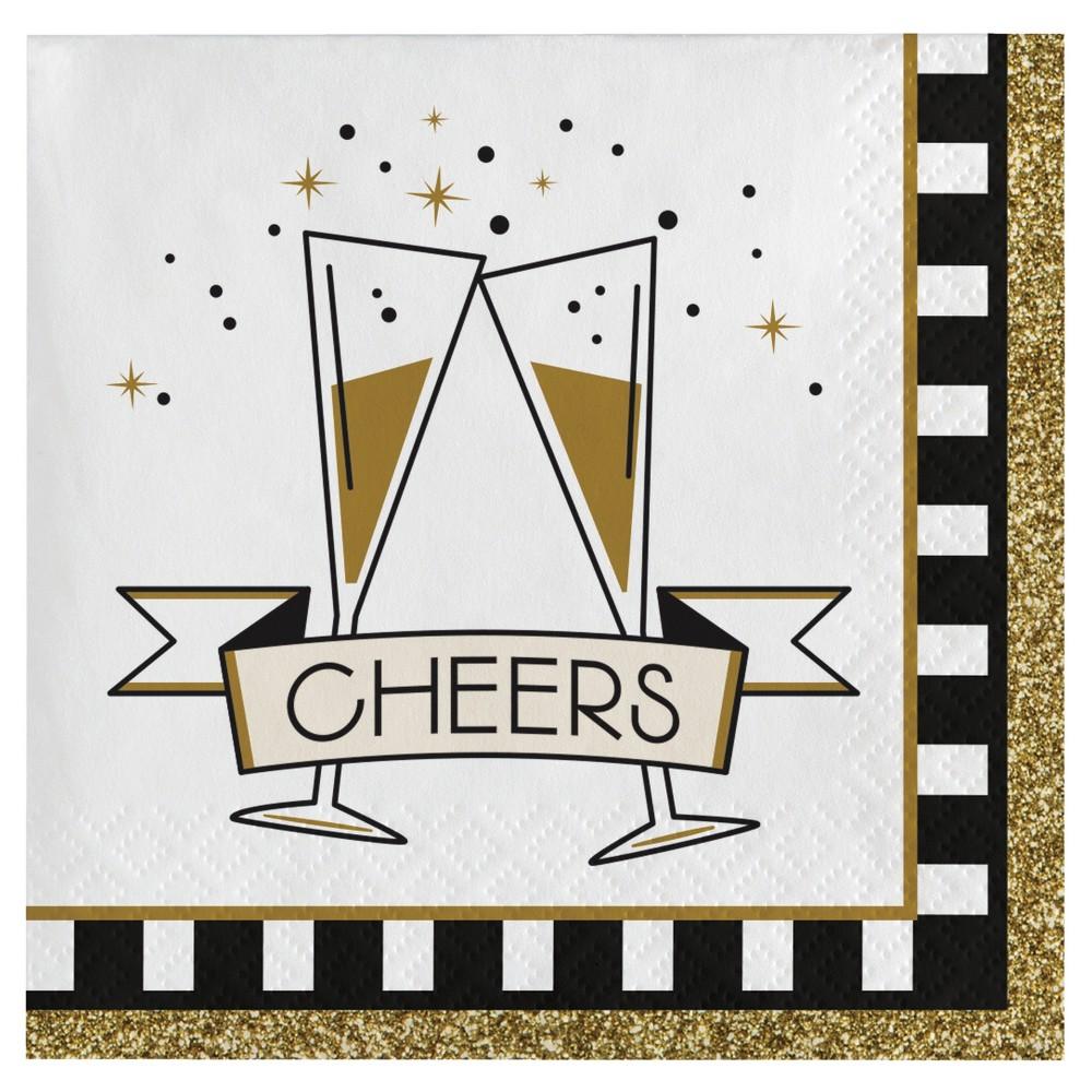 Image of Midnight Celebration New Years Cocktail Beverage Napkins, 16 pk