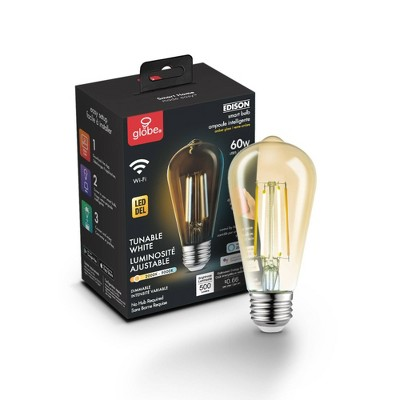 Smart 60W Equivalent Vintage Filament Tunable White LED Wi-Fi Enabled Voice Activated ST19 E26 Amber Glass Light Bulb