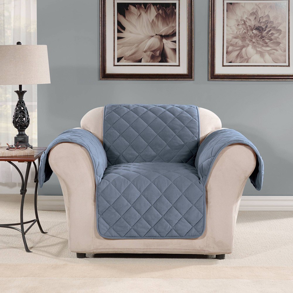 Suede Microfiber Recliner Furniture Protector Cover Blue Sure Fit