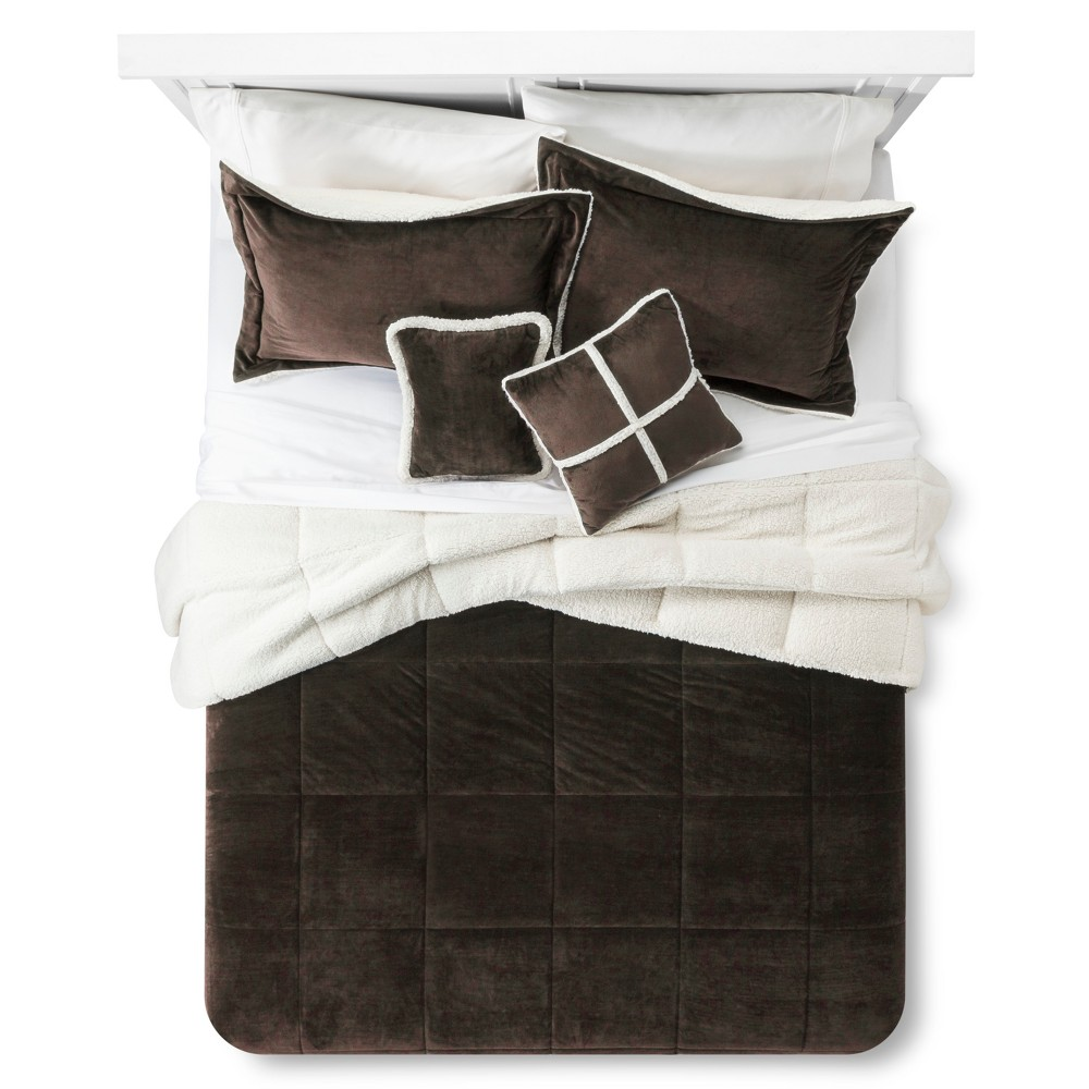 Chocolate (Brown) Solid Velvet to Sherpa Reversible Comforter Set (King) 5pc