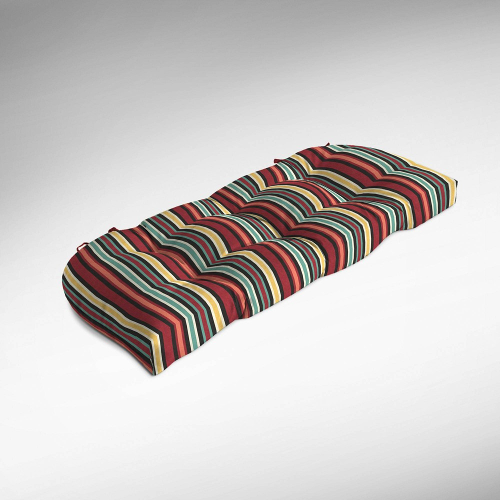 Abella Stripe Wicker Settee Cushion Ruby (Red) - Arden Selections