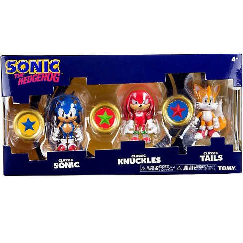 Sonic The Hedgehog Sonic Boom Pixelated Classic Sonic Classic Knuckles And Classic Tails Action Figure 3 Pack 3 Rings Target