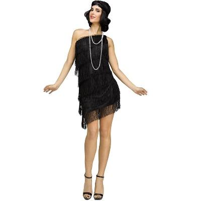 Fun World Shimmery Flapper Adult Costume (Black)