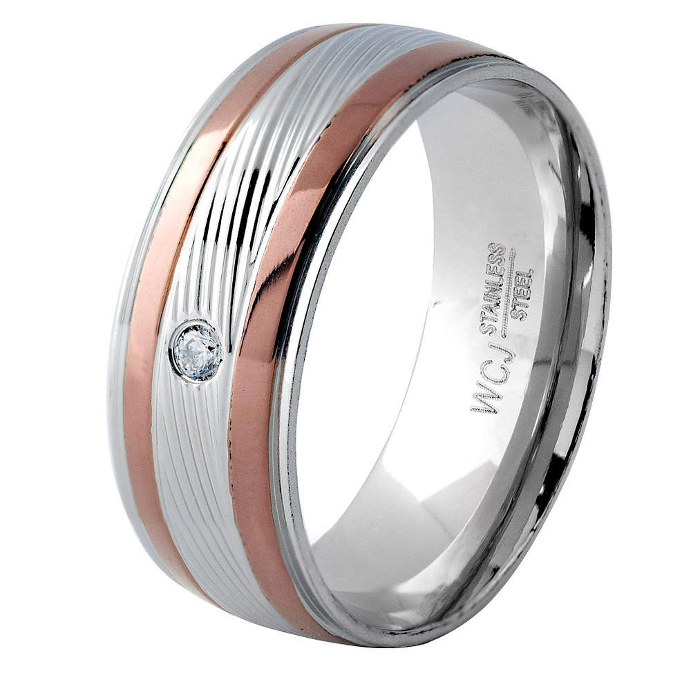 Men's West Coast Jewelry Browntone and Silverplated Stainless Steel Cubic Zirconia Grooved Ring (8), Brown Silver