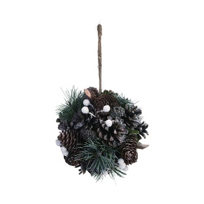 Transpac Pinecone 5 in. Green Christmas Natural with Green Accent Ball