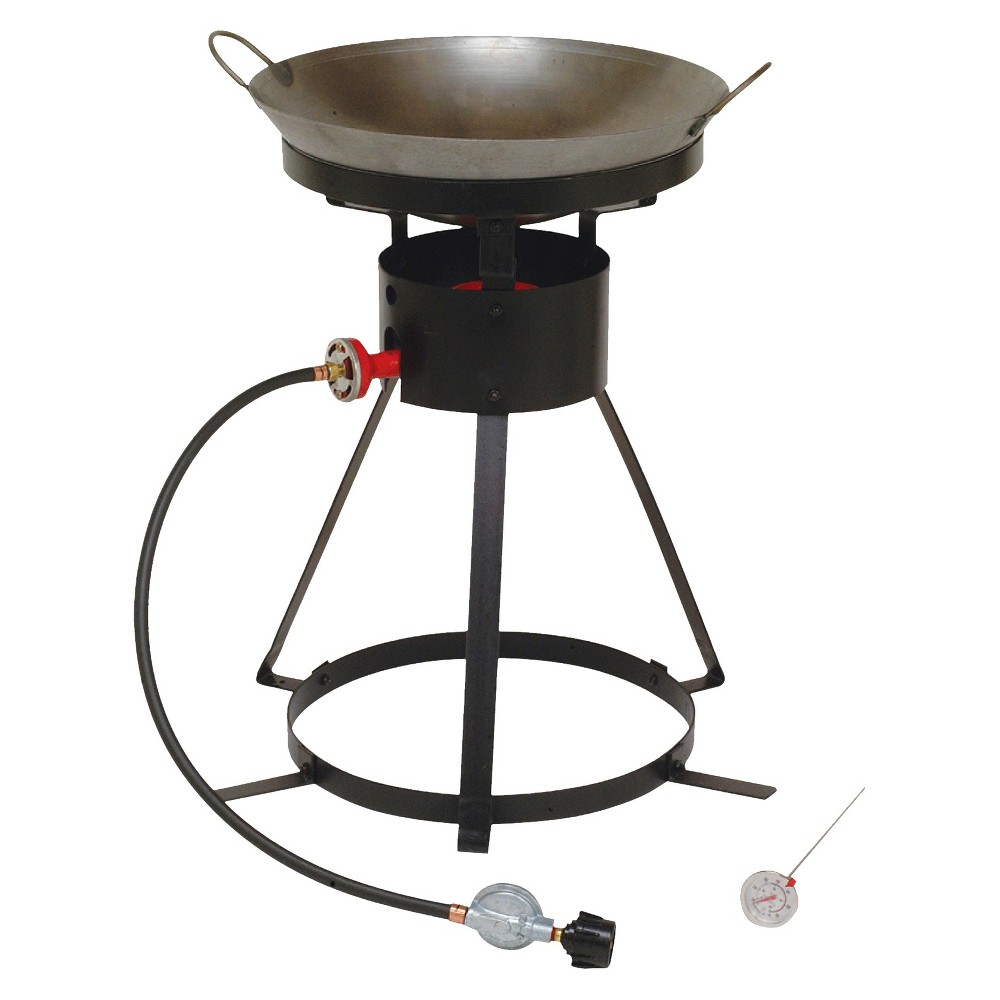 King Kooker Portable Propane Outdoor Wok Cooker with 18 Steel Wok, Black 15215597