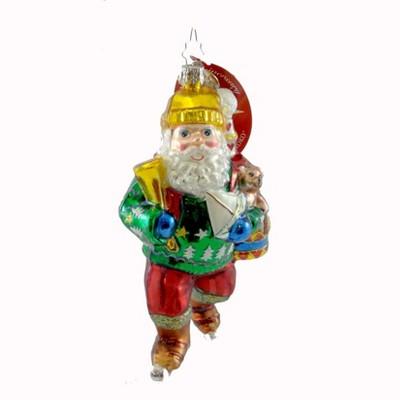 Christopher Radko Gift Glider Ornament Santa Ice Skate  -  Tree Ornaments