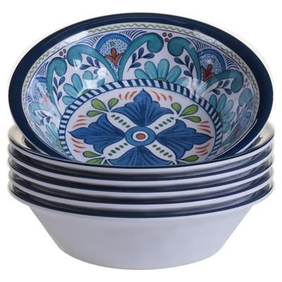 Certified International Talavera by Nancy Green Melamine Bowls 22oz Blue - Set of 6