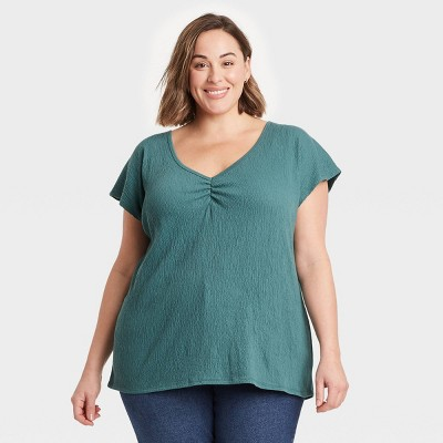 Women's Plus Size Short Sleeve V-Neck T-Shirt - Ava & Viv™