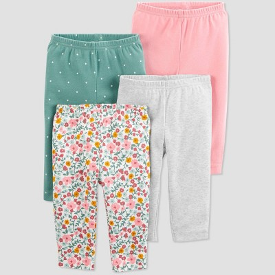 Baby Girls' 4pk Polka Dot and Floral Print Pull-On Pants - Just One You® made by carter's Green/Pink/Gray Newborn