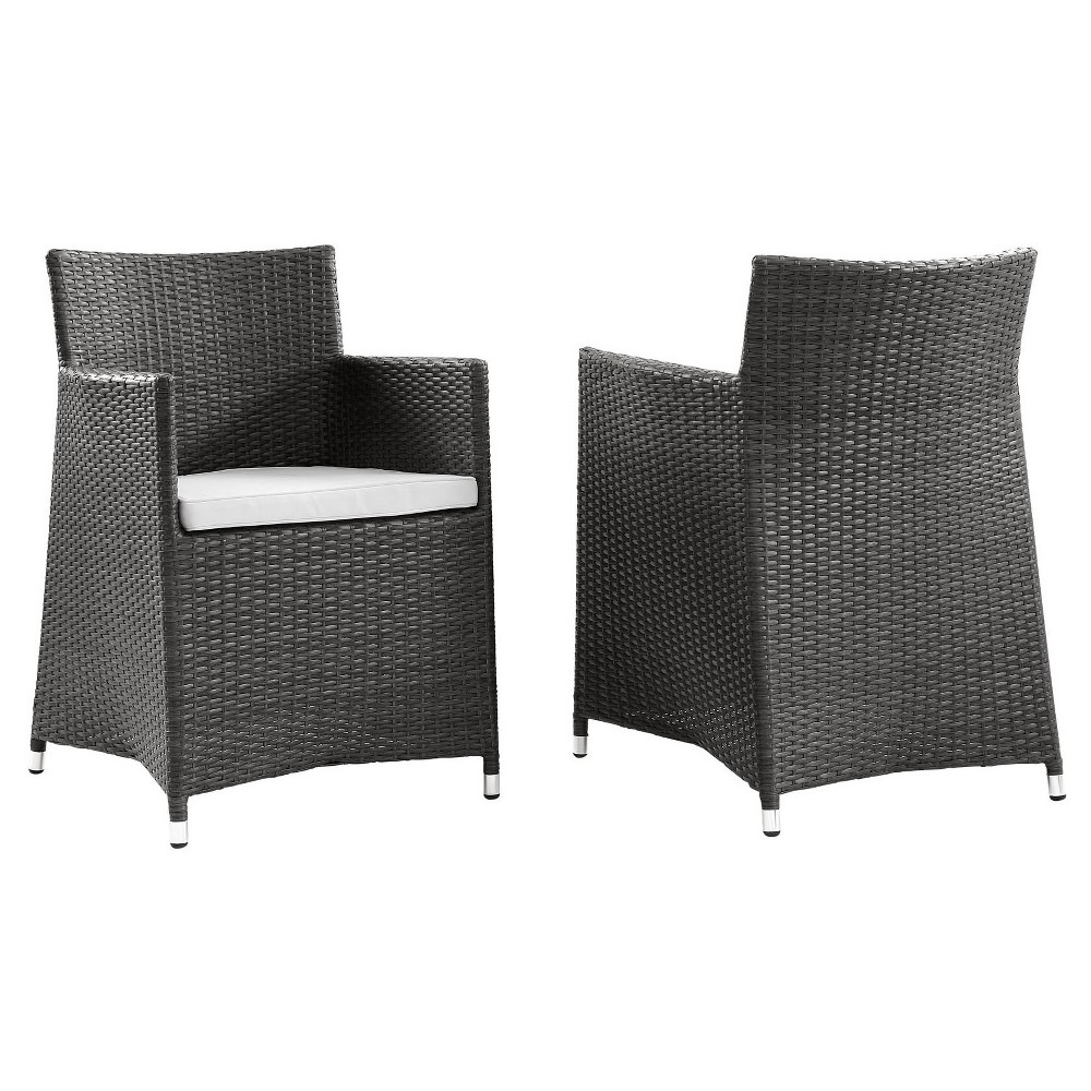 Junction Armchair Outdoor Patio Wicker Set of 2 in Brown White - Modway