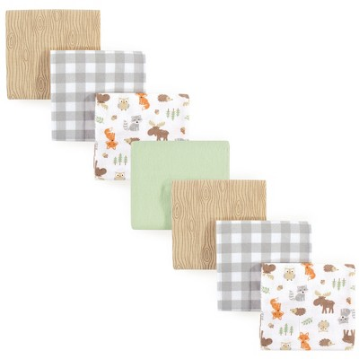 Hudson Baby Infant Boy Cotton Flannel Receiving Blankets Bundle, Woodland, One Size