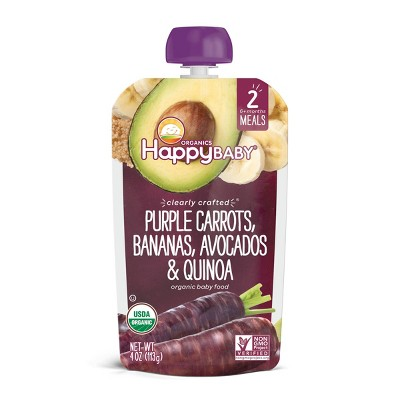HappyBaby Clearly Crafted Purple Carrots Bananas Avocados & Quinoa Baby Food Pouch - 4oz