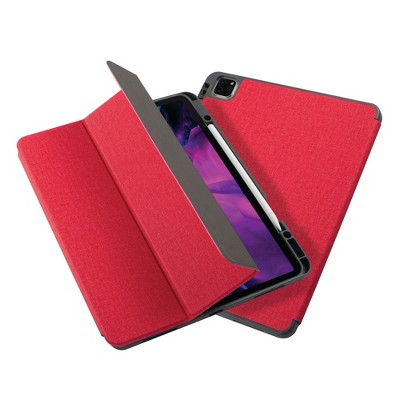 """Insten - Soft TPU Tablet Case For iPad Pro 12.9"""" 2020, Multifold Stand, Magnetic Cover Auto Sleep/Wake, Pencil Charging, Red"""