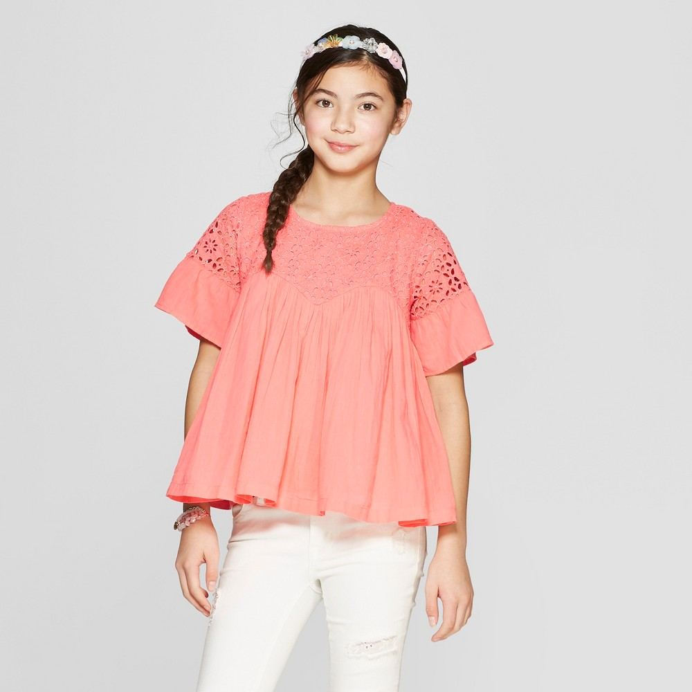 Image of Girls' Embroidered Bell Sleeve Peasant Top - Cat & Jack Peach M, Girl's, Size: Medium, Pink