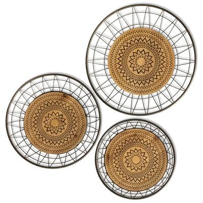 17  3pc Aztec Rings Metal and Wood Decorative Wall Art Golden Bronze - StyleCraft