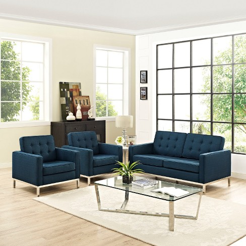 Set of 3 Love Seat, Accent Chairs Loft Living Room Set Upholstered Fabric  Azure - Modway