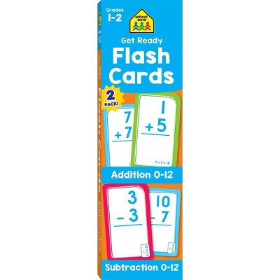 Get Ready Flash Cards 2-pack - Addition 0-12 & Subtraction 0-12, Grades 1-2 (School Zone Publishing)