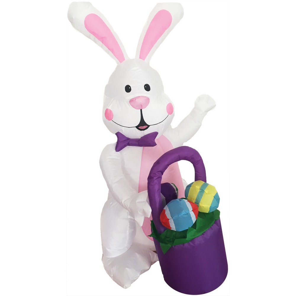 Easter 4ft Inflatable Bunny with Egg Basket, Multi-Colored