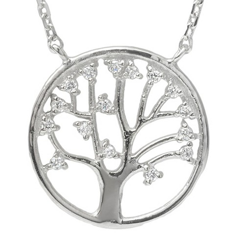 "1/3 CT. T.W. Round-cut CZ Pave Set Tree of Life Pendant Necklace in Sterling Silver - Silver (17"") - image 1 of 3"