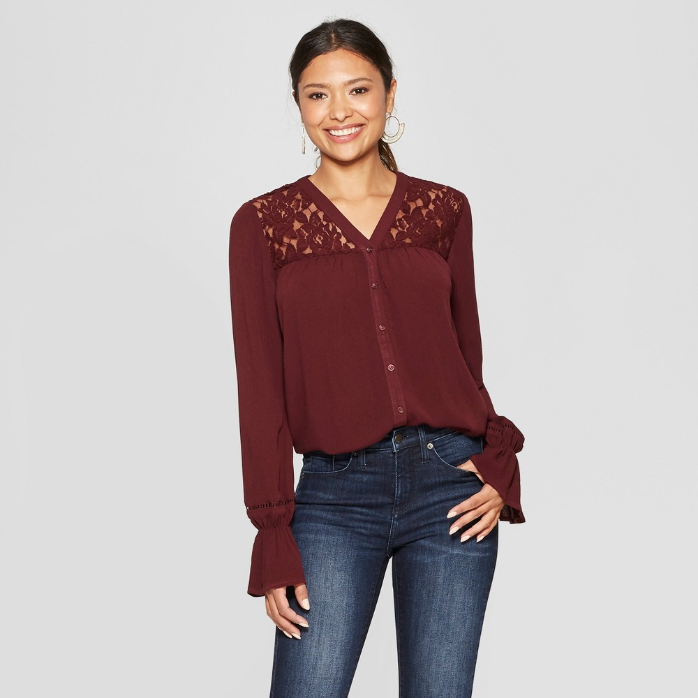 Women's Long Sleeve Collarless Lace Inset Button-Down Blouse - Knox Rose Burgundy XS, Red