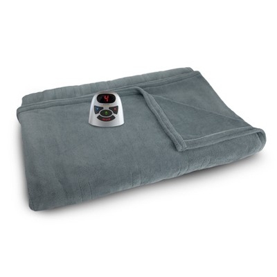 Queen Microplush Electric Bed Blanket Gray - Biddeford Blankets