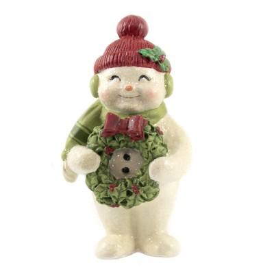 "Christmas 5.25"" Christmas Cheer Snowman Wreath Hat Holly  -  Decorative Figurines"