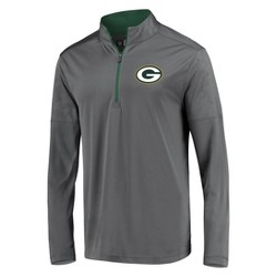 NFL Green Bay Packers Men's Poly Embossed Gray 1/2 Zip Hoodie