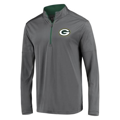 NFL Green Bay Packers Men's Poly Embossed Gray 1/2 Zip Hoodie - image 1 of 3